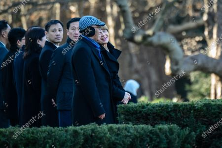 The wife of German President Steinmeier, Elke Buedenbender (R) and the husband of Singapore President Yacob, Mohammed Abdullah Alhabshee (2-R) talk during a ceremony with military honors in the yard of Bellevue Palace in Berlin, Germany, 10 December 2019. President Halimah Yacob is on a five-day state visit to Germany, the first by a Singapore head of state to the country.