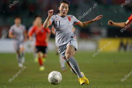 Yang Li of China in action during the EAFF E-1 Football Championship Women's match between South Korea and China at Busan Gudeok Stadium in Busan, South Korea, 10 December 2019.