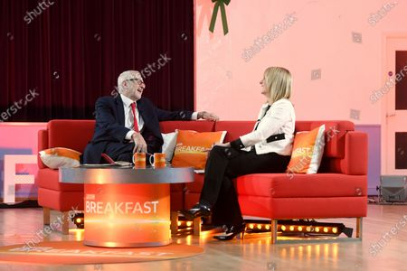 Stock Image of Britain's Labour Party leader Jeremy Corbyn (L) speaks to Louise Minchin (R) on BBC Breakfast in Bolton, Britain, 10 December 2019.