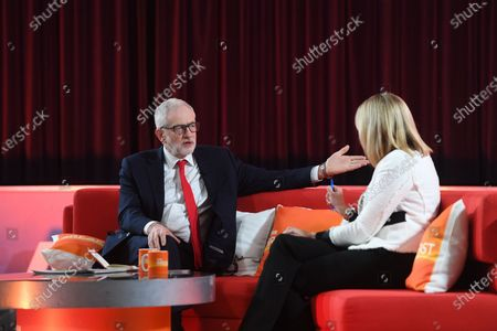 Stock Photo of Britain's Labour Party leader Jeremy Corbyn (L) speaks to Louise Minchin (R) on BBC Breakfast in Bolton, Britain, 10 December 2019.