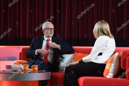 Britain's Labour Party leader Jeremy Corbyn (L) speaks to Louise Minchin (R) on BBC Breakfast in Bolton, Britain, 10 December 2019.