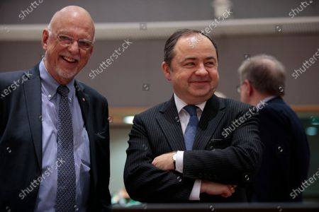 Swedish State Secretary for International and EU Affairs Hans Dahlgren (L) and Konrad Szymanski , Polish European Affairs Minister  during an European General Affairs Council in Brussels, Belgium, 10 December 2019. The Council will focus on rule of law in Hungary.