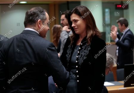 Judit Varga (R), Hungarian Minister of State for European Union Relations and Konrad Szymanski, Polish European Affairs Minister  during an European General Affairs Council in Brussels, Belgium, 10 December 2019. The Council will focus on rule of law in Hungary.