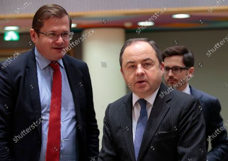 Konrad Szymanski (R), Polish European Affairs Minister during an European General Affairs Council in Brussels, Belgium, 10 December 2019. The Council will focus on rule of law in Hungary.