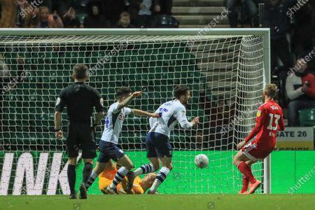 10th December 2019, Deepdale, Preston, England; Sky Bet Championship, Preston North End v Fulham : David Nugent (35) of Preston North End scores to make it 2-0Credit: Mark Cosgrove/News Images