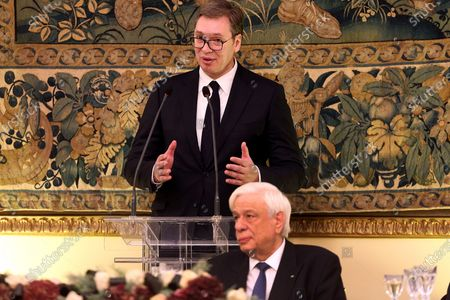 President of Serbia Aleksandar Vucic (L) delivers a speech during an official dinner hosted by Greek President Prokopis Pavlopoulos (R) at the Presidential Mansion in Athens, Greece, 10 December 2019. Vucic is in Greece on a two-day official visit.