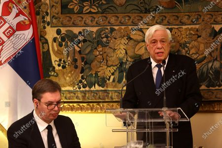 Greek President Prokopis Pavlopoulos (R) delivers a speech as he hosts an official dinner for his Serbian counterpart Aleksandar Vucic (L) at the Presidential Mansion in Athens, Greece, 10 December 2019. Vucic is in Greece on a two-day official visit.