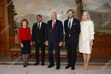 Nobel Peace Prize Laureate Abiy Ahmed Ali (2-L) in audience with (L-R) Queen Sonja, King Harald, Crown Prince Haakon and Crown Princess Mette-Marit in the Royal Palace in Oslo, Norway, 10 December 2019.