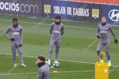 Atletico Madrid's players (L-R) Thomas Lemar, Joao Felix and Hector Herrera attend a training session at Wanda sport city in Madrid, Spain, 10 December 2019. Atletico Madrid will face FC Lokomotiv Moscow in their UEFA Champions League group stage match on 11 December 2019.