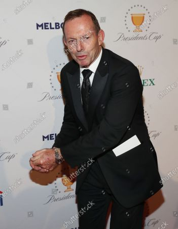 Australian former prime minister Tony Abbott arrives at the Presidents Cup Golf gala at Crown Palladium in Melbourne, Victoria, Australia, 10 December 2019.