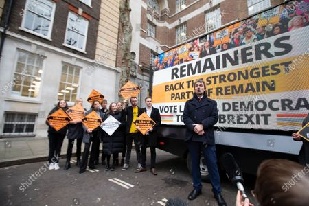 Stock Photo of Tom Brake, Liberal Democrat Shadow Brexit Secretary, launches the party's final campaign poster in Westminster.