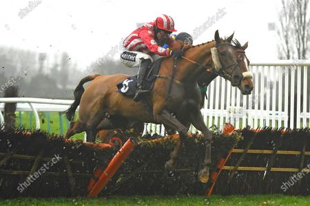 Winner of The Netbet Best Odds Handicap Hurdle Jimmy (red)  ridden by Tom Cannon and trained by Chris Gordon during Horse Racing at Fontwell Park Racecourse on 10th December 2019