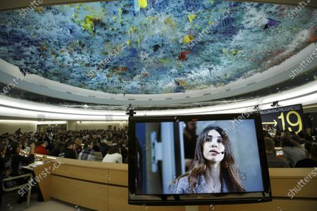 Nobel Peace Prize 2018 Nadia Murad delivers her call during the Young Activists Summit (YAS19) at the European headquarters of the United Nations (UNOG) in Geneva, Switzerland, 10 December 2019.
