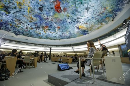 Nobel Peace Prize 2018 Nadia Murad (2-R), sitting next to Brazilian activist Hamangai Pataxo (R), delivers her call during the Young Activists Summit (YAS19) at the European headquarters of the United Nations (UNOG) in Geneva, Switzerland, 10 December 2019.