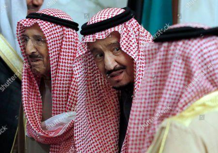 King Salman, Sabah Al Ahmad Al Sabah. Saudi King Salman accompanies Kuwait's emir, Sheikh Sabah Al Ahmad Al Sabah, left, during the 40th Gulf Cooperation Council Summit in Riyadh, Saudi Arabia