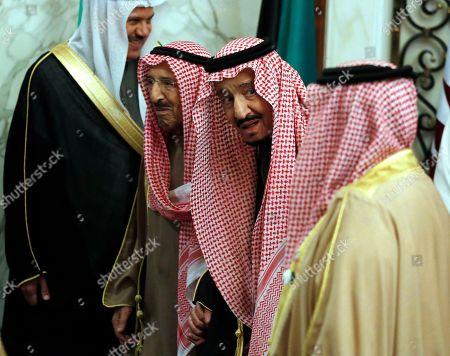 Stock Photo of King Salman, Sabah Al Ahmad Al Sabah. Saudi King Salman accompanies Kuwait's emir, Sheikh Sabah Al Ahmad Al Sabah, left, during the 40th Gulf Cooperation Council Summit in Riyadh, Saudi Arabia