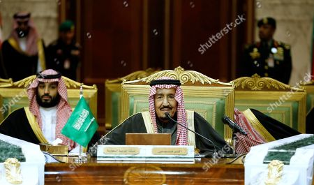 King Salman, Mohammed bin Salman. Saudi King Salman chairs the 40th Gulf Cooperation Council Summit in Riyadh, Saudi Arabia, . Crown Prince Mohammed bin Salman seen at left