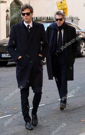 Editorial image of Bryan Ferry With One Of His Sons Attends The Memorial Service Of His Socialite / Model Ex-wife Lucy Birley (ferry) At Farm Street Church In Mayfair.