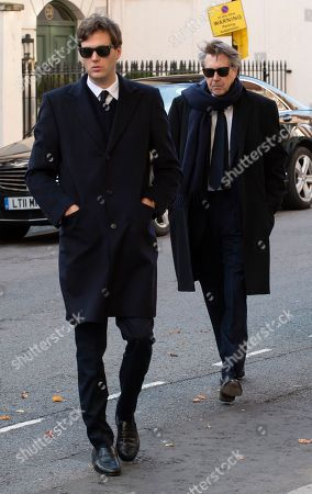 Stock Image of Bryan Ferry With Son Isaac Attends The Memorial Service Of His Socialite / Model Ex-wife Lucy Birley (ferry) At Farm Street Church In Mayfair.  Lucy Birley Memorial Service.
