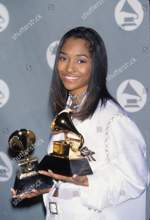 Stock Picture of Tlc Aka Rozonda Ocelean Thomas Chilli at the 38th Grammy Awards in Los Angeles 1996