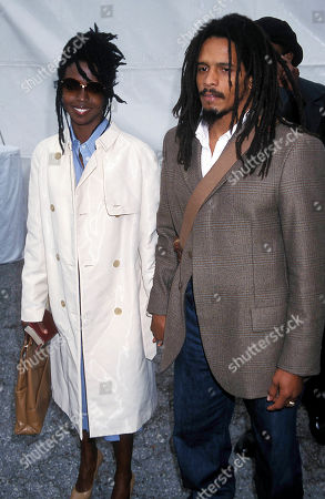 Lauryn Hill and Rohan Marley at the Memorial For Curtis Mayfield Ame Church Los Angeles Ca 02-22-2000