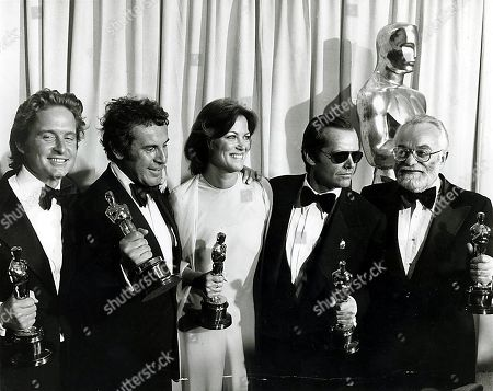Stock Image of Group Photo of Jack Nicholson Michael Douglas Milos Louise Fletcher Taking in Annual Academy Awards