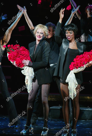 Melanie Griffith Takes Her Curtain Call As Roxie Hart with Deidre Goodwin in 'Chicago' at the Ambassador Theatre in New York City On July 20 2003