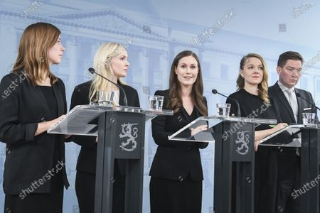 Finland's new ministers (L-R) Li Andersson Minister of Education, Maria Ohisalo Minister of the Interior, Prime Minister Sanna Marin, Katri Kulmuni Minister of Finance and Thomas Blomqvist Minister for Nordic Cooperation and Equality speak at press conference in Helsinki, Finland, 10 December 2019.