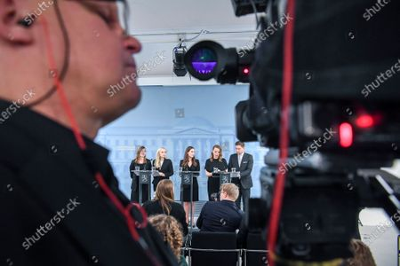 Finland's new ministers (L-R) Li Andersson Minister of Education, Maria Ohisalo Minister of the Interior, Prime Minister Sanna Marin, Katri Kulmuni Minister of Finance and Thomas Blomqvist Minister for Nordic Cooperation and Equality speak at a press conference in Helsinki, Finland, 10 December 2019.