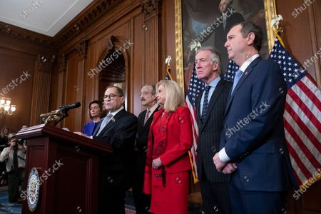 House Judiciary Committee Chairman Jerrold Nadler (L) speaks beside Speaker of the House Nancy Pelosi (L), House Foreign Affairs Committee Chairman Eliot Engel (3-L), House Oversight and Reform Committee Chairwoman Carolyn Maloney (3-R), Chairman of the House Ways and Means Committee Richard Neal (2-R) and House Permanent Select Committee on Intelligence Chairman Adam Schiff (R); during the unveiling of two articles of impeachment, charging US President Donald Trump with abuse of power and obstruction of Congress, during a press conference on Capitol Hill in Washington, DC, USA, 10 December 2019. The Judiciary Committee will vote on the two articles Thursday, setting up a vote on the House floor next week.
