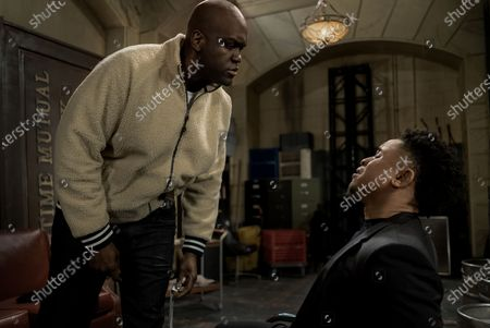 Avery Mason as Black Grimace and Rotimi Akinosho as Dre