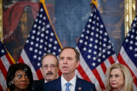 House Permanent Select Committee on Intelligence Chairman Adam Schiff (R), with House Financial Services Committee Chairwoman Maxine Waters (L), House Foreign Affairs Committee Chairman Eliot Engel (2-R), House Oversight and Reform Committee Chairwoman Carolyn Maloney (R) delivers remarks during a press conference to unveil two articles of impeachment, charging President Donald Trump with abuse of power and obstruction of Congress, on Capitol Hill in Washington, DC, USA, 10 December 2019. The Judiciary Committee will vote on the two articles Thursday, setting up a vote on the House floor next week.