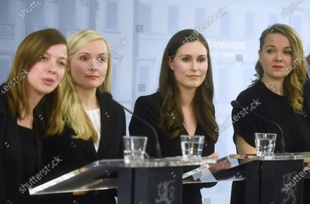 Minister of Education Li Andersson, Minister of Interior Maria Ohisalo, Prime Minister Sanna Marin and Minister of Finance Katri Kulmuni during press conference of the new Finnish government