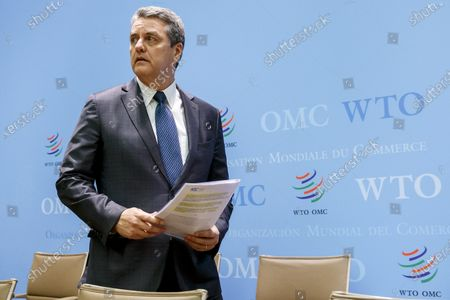 Brazilian Roberto Azevedo, Director General of the World Trade Organization, WTO, arrives for a press conference after closing the WTO's General Council, during a press conference, at the headquarters of the World Trade Organization, WTO, in Geneva, Switzerland, 10 December 2019.