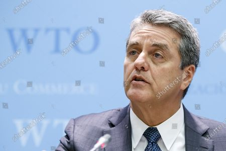 Brazilian Roberto Azevedo, Director General of the World Trade Organization, WTO, speaks to the media after closing the WTO's General Council, during a press conference, at the headquarters of the World Trade Organization, WTO, in Geneva, Switzerland, 10 December 2019.