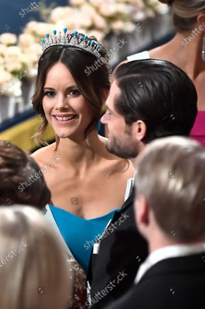 Princess Sofia of Sweden and Prince Carl Philip during the Nobel award ceremony.