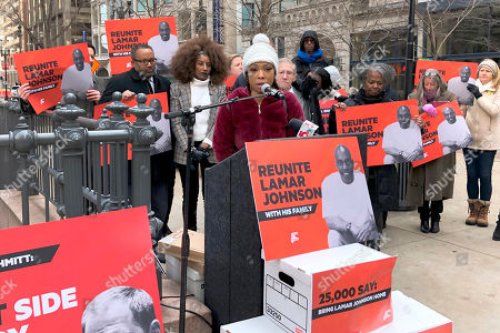 Brittany Johnson, speaks at a news conference in downtown St. Louis, urging the release of her father, Lamar Johnson, from prison. Johnson has been imprisoned since 1995 for murder, but St. Louis Circuit Attorney Kim Gardner and the Midwest Innocence Project issued a report in July that said police pressured the only eyewitness in the case. Advocates for Johnson delivered 25,000 petition signatures in support of him to the St. Louis office of Missouri Attorney General Eric Schmitt
