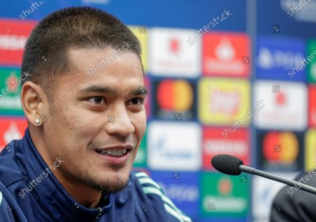 Alphonse Areola of Real Madrid attends a press conference in Bruges, Belgium, 10 December 2019. Real Madrid will face Club Brugge in their UEFA Champions League group stage soccer match on 11 December 2019.