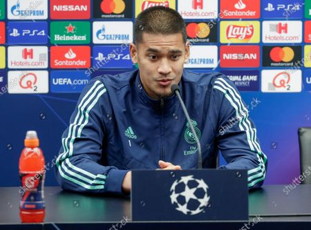 Stock Image of Alphonse Areola of Real Madrid attends a press conference in Bruges, Belgium, 10 December 2019. Real Madrid will face Club Brugge in their UEFA Champions League group stage soccer match on 11 December 2019.