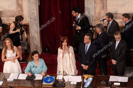 The new Vice President of Argentina, Cristina Fernandez de Kirchner (C), the outgoing Vice President, Gabriela Michetti (CL), and the Argentinian politician Sergio Massa (CR), participate in the inauguration of the new President of Argentina, Alberto Fernandez, in Buenos Aires, Argentina, 10 December 2019.