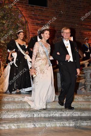 Queen Silvia and Carl-Henrik Heldin, Chairman of Nobel Foundation, Nobel Physics laureate, during the Nobel Banquet.