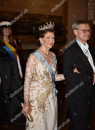 Queen Silvia and Carl-Henrik Heldin, Chairman of the Nobel Foundation, during the Nobel award ceremony.