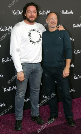 Stock Picture of German actors Ronald Zehrfeld (L) and Benno Fuermann (R) attend the grand opening of the Kaufhaus des Westens (KaDeWe) department store in Berlin, Germany, 10 December 2019. The KaDeWe is the second largest department store in Europe with over 60 thousand square meters of selling space. At the moment the building is undergoing a major refurbishment process.