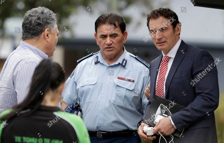 Stock Picture of Paul Quinn, left, chairman of White Island Tours talks with Police Minister Stuart Nash, right, and Police deputy commissioner Wally Haumaha following a meeting with the family of volcano victim Hayden Marshall-Inman in Whakatane, New Zealand, . The volcano on White Island has continued venting steam and mud, delaying plans by authorities to recover the bodies of victims from the volcano site. Authorities believe there are eight bodies that remain on the island following the Dec. 9 eruption