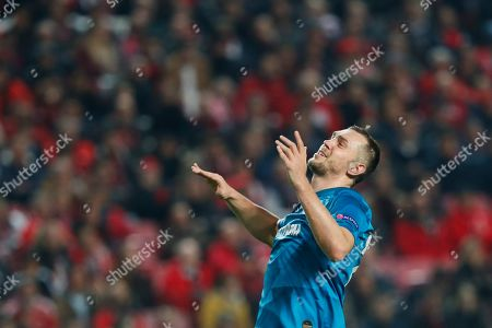 Zenit's Artem Dzyuba gestures during the Champions League group G soccer match between Benfica and Zenit St. Petersburg at the Luz stadium in Lisbon