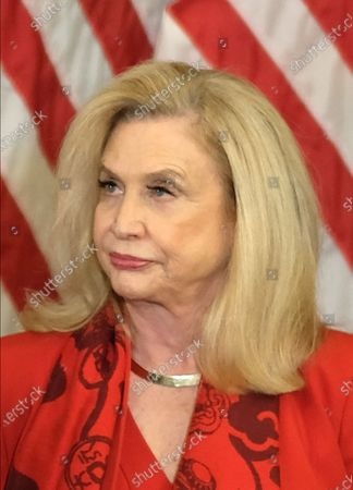 United States Representative Carolyn Maloney (Democrat of New York), listens during a news conference laying out articles of impeachment for President Trump, on Capitol Hill.
