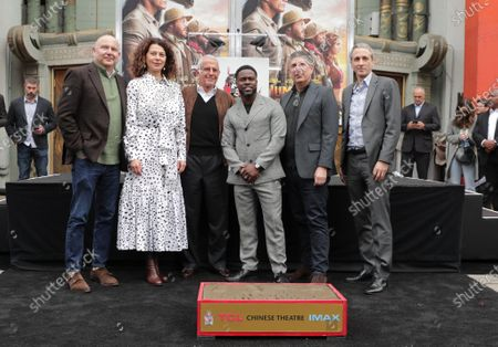 Stock Image of Chris Meledandri, CEO of Illumination Entertainment, Donna Langley, Chairman, Universal Filmed Entertainment Group, Ron Meyer, Vice Chairman, NBCUniversal, Kevin Hart, Jeff Shell, Chairman, NBCUniversal Film and Entertainment, and Peter Cramer, President of Universal Pictures, at Kevin Hart's Hand and Footprint Ceremony at the TCL Chinese Theatre.