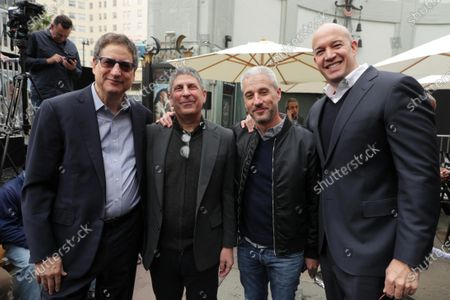Tom Rothman, Chairman, Sony Pictures Entertainment Motion Picture Group, Jeff Shell, Chairman, NBCUniversal Film and Entertainment, Matt Tolmach and Hiram Garcia at Kevin Hart's Hand and Footprint Ceremony at the TCL Chinese Theatre.