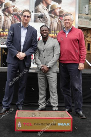 Tom Rothman, Chairman, Sony Pictures Entertainment Motion Picture Group, Kevin Hart and Tony Vinciquerra, CEO of Sony Pictures Entertainment, at Kevin Hart's Hand and Footprint Ceremony at the TCL Chinese Theatre.