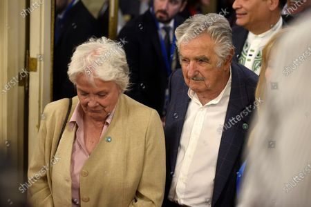 Uruguayan former President Jose Mujica and his wife Lucia Topolansky (L) attend the investiture ceremony of new Argentinian President Alberto Fernandez in Buenos Aires, Argentina, 10 December 2019.